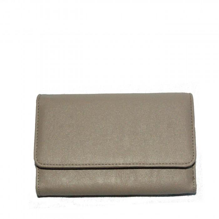 Grand portefeuille - porte-cartes beige classique avec nombreux rangements