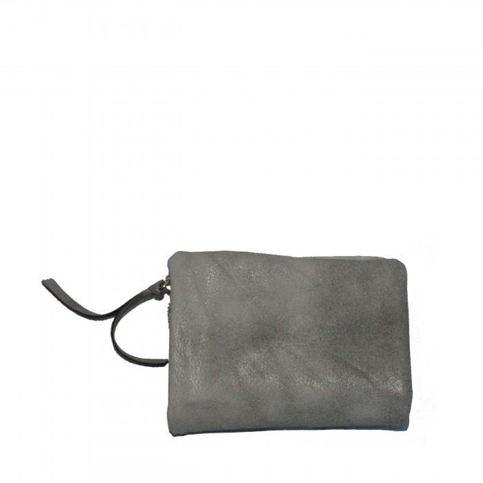 Petit portefeuille - porte-cartes gris original avec petite pochette - porte-monnaie amovible