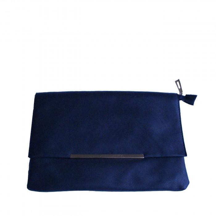 Grande pochette de soirée bleue marine très classe avec détail chrome