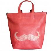 Sac à main rouge avec moustache brillante et pochette