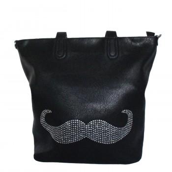 Sac à main noir avec moustache brillante et pochette