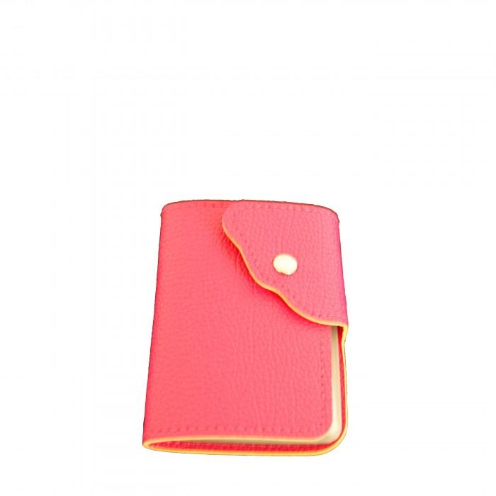 Portefeuille - porte-cartes rose façon crocodile avec nombreux rangements et bouton pression