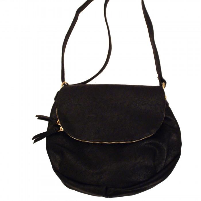 Petite besace sacoche noire en simili-cuir à franges