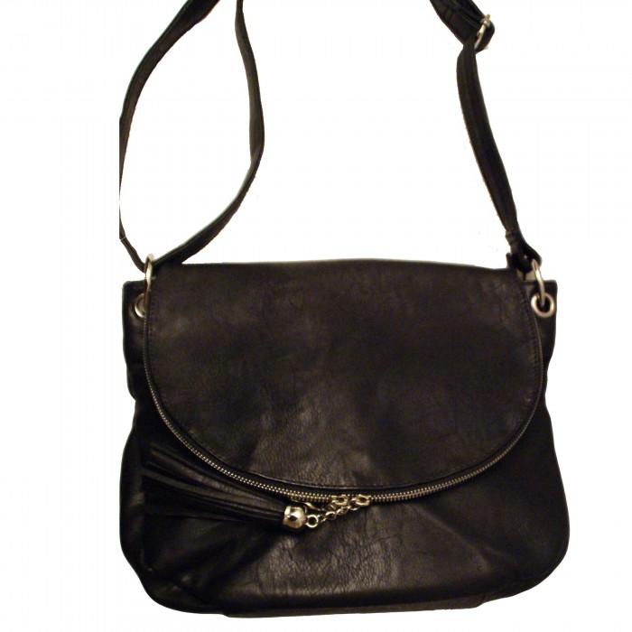 Grande besace sacoche noire en simili-cuir à franges