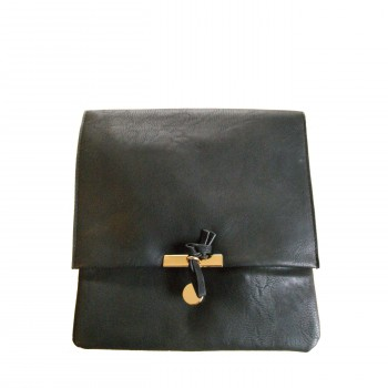 Pochette de soirée carrée noire à fermeture originale dorée