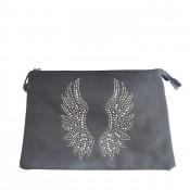 Pochette de soirée grise ailes d'ange brillantes