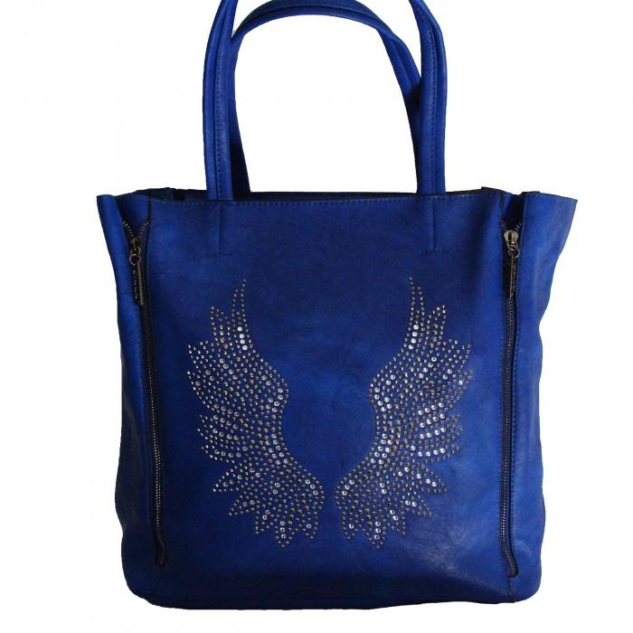 Sac à main bleu avec ailes d'ange brillantes et pochette