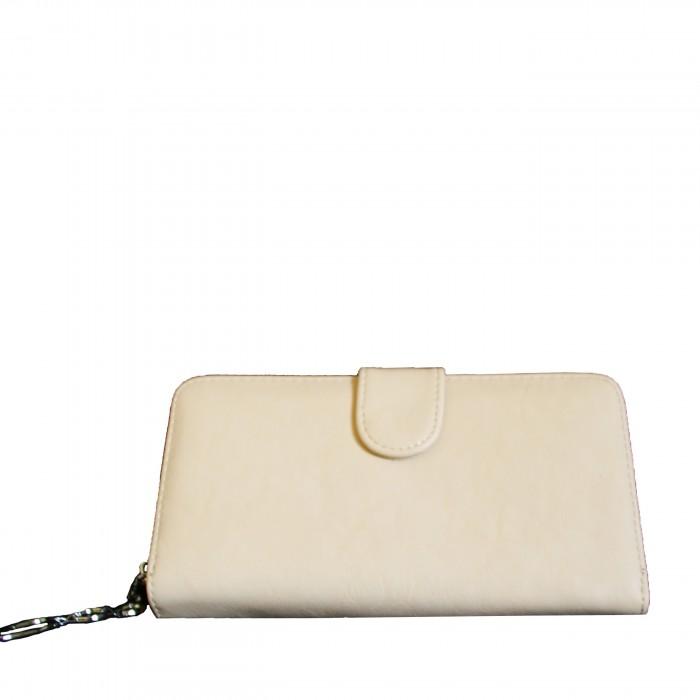 Porte-monnaie - portefeuille beige simili-cuir avec fermeture éclair, nombreux rangements et chaînette argentée