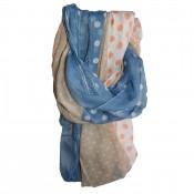 Foulard bleu, beige et corail façon jean, à pois de différentes tailles