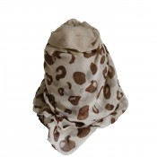 Foulard blanc/beige avec imprimé style animal/girafe marron