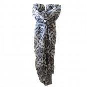 Foulard bicolore blanc/noir avec imprimés médaillons ornements
