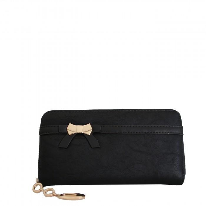Porte-monnaie - portefeuille noir avec nœoeud doré, fermeture éclair, nombreux rangements et chaînette dorée
