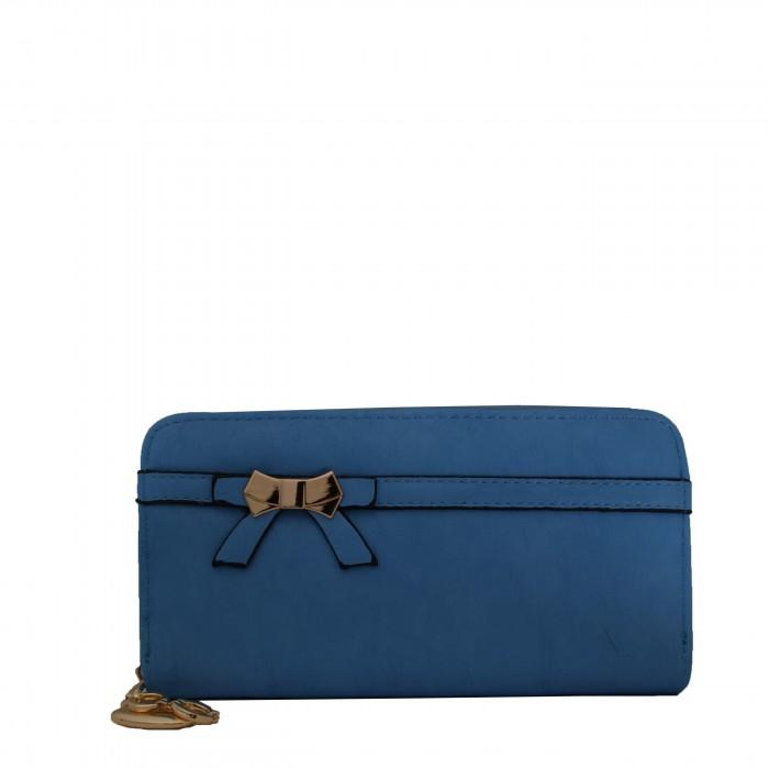 Porte-monnaie - portefeuille bleu ciel avec noeœud doré, fermeture éclair, nombreux rangements et chaînette dorée