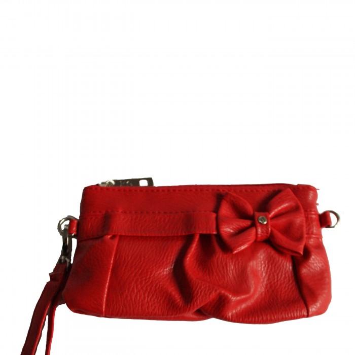 Petite pochette de soirée rouge avec fleur et bandoulière amovible