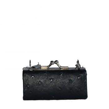Porte-monnaie noir simili cuir style matelassé avec ouverture originale