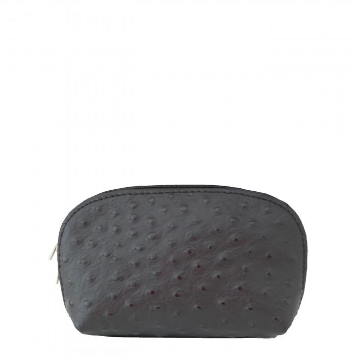 Grand porte-monnaie - pochette de rangement en cuir véritable matelassé noir