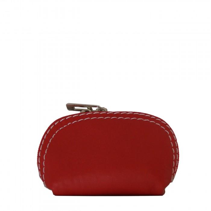 Petit porte-monnaie rouge en cuir véritable de vachette à surpiqures blanches