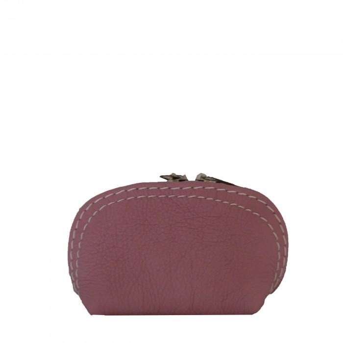Petit porte-monnaie rose en cuir véritable de vachette à surpiqures blanches