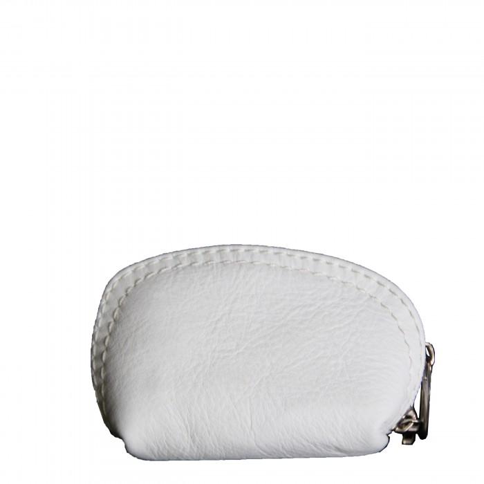 Petit porte-monnaie blanc en cuir véritable de vachette à surpiqures blanches