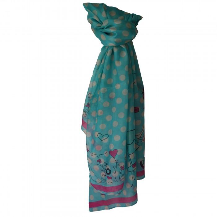 Grand foulard en soie turquoise et rose à motif Paris très tendance