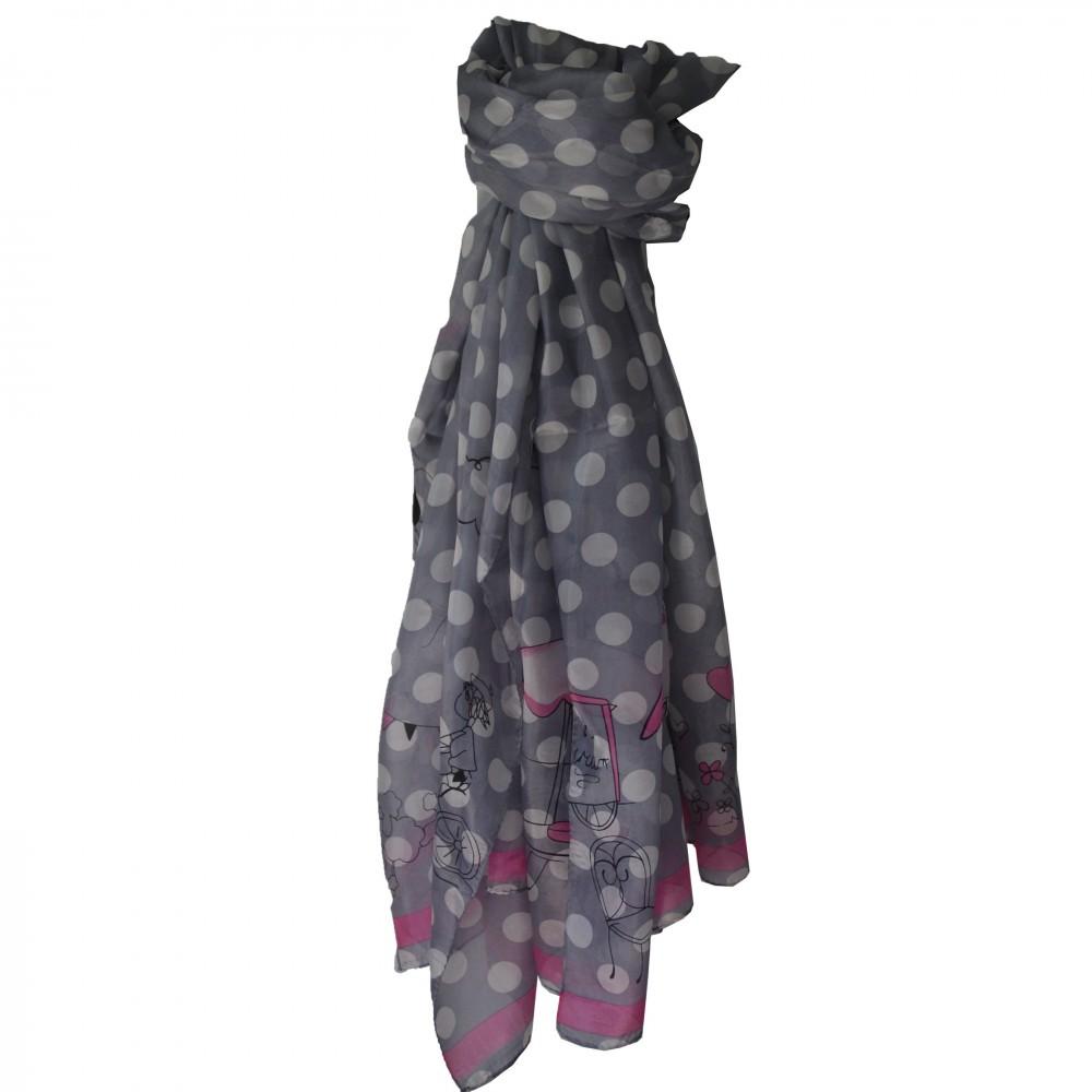 ecc30a14a09b Grand foulard en soie gris et rose à motif Paris très tendance