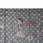 Grand foulard en soie gris et rose à motif Paris très tendance