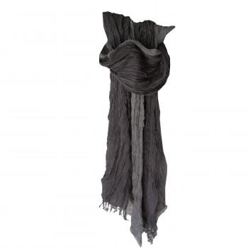 Foulard gris effet chiné, rayé, cheich - chèche